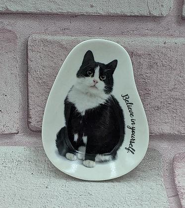 SHAPED CERAMIC CAT TRINKET PLATE