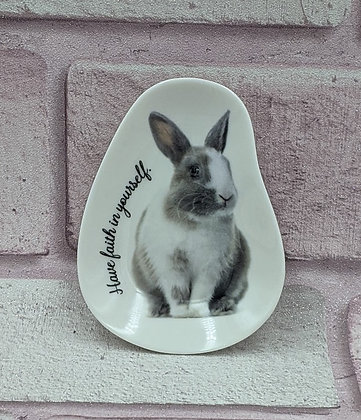 SHAPED CERAMIC RABBIT TRINKET PLATE