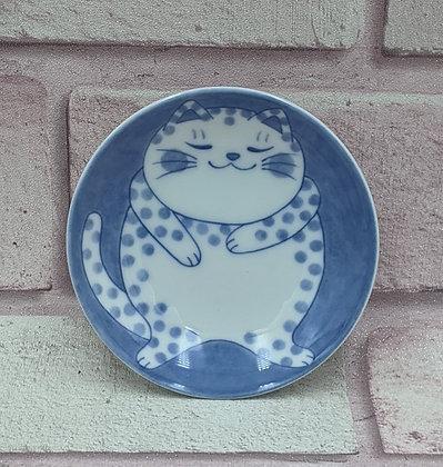 BLUE CAT CERAMIC TRINKET PLATE