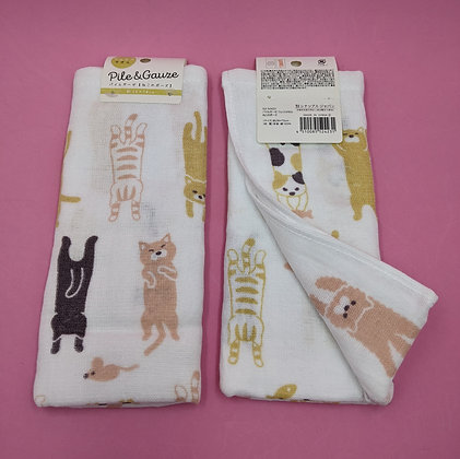STRETCHING CAT MUSLIN/TERRY TOWEL