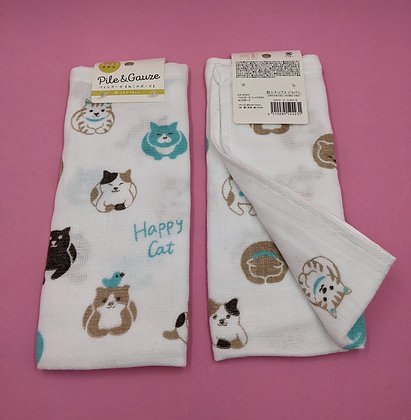 HAPPY CAT MUSLIN/TERRY TOWEL