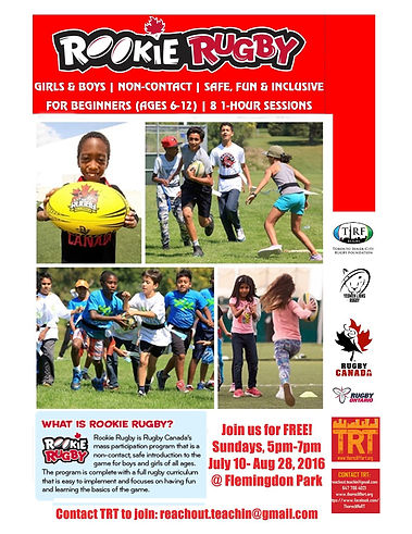 Rookie Rugby events, July and August 2016 at Flemingdon Park