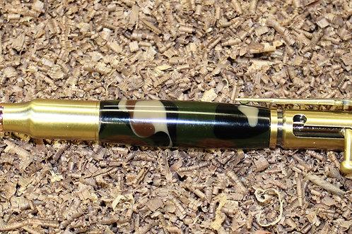 30 Caliber Bolt Action 24kt Gold Bullet Cartridge Camouflage Pen
