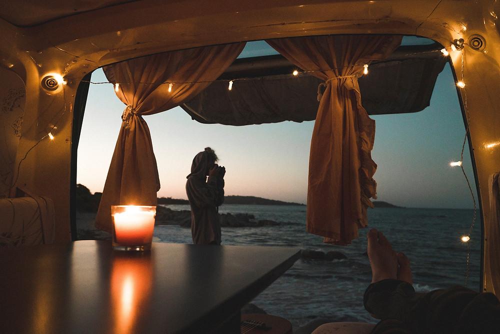 Curtains in campervan