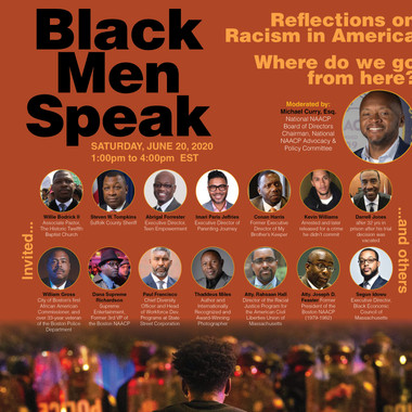 "Electronic ad promoting BLM ""Black Men Speak"" panel disscusion"