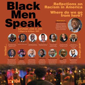 "Electronic ad promoting BLM ""Black Men Speak"" panel disscusion"