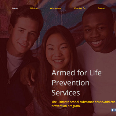Armed for Life Prevention Services site home page