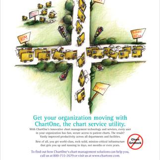 Illustration for ChartOne ad depicting file gridlock
