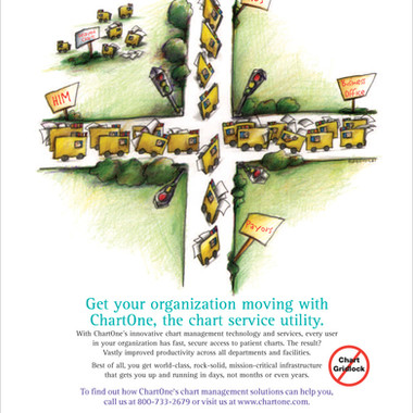 Illustration for ChartOne ad depicting file gridlock