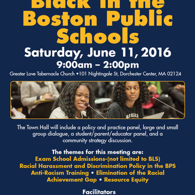 Town hall meeting sponsored by the local Boston branch of the NAACP