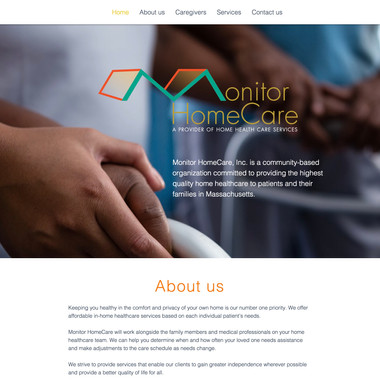 Monitor HomeCare site home page