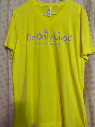 V-Neck Neon Yellow Short Sleeve T-Shirt
