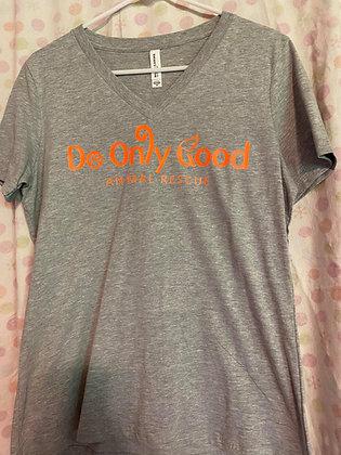 V-Neck Light Grey Short Sleeve T-Shirt