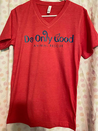 V-Neck Heather Red Short Sleeve T-Shirt