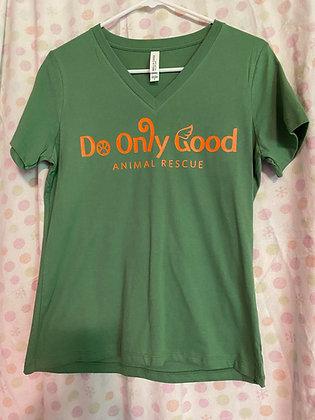 V-Neck Leaf Green Short Sleeve T-Shirt