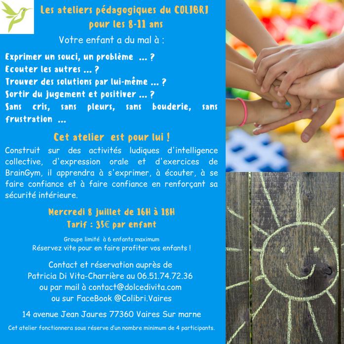 Atelier Résolution de conflits pour les 8-11 ans à Vaires sur Marne 77