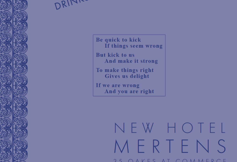 The replica New Hotel Mertens cocktail menu