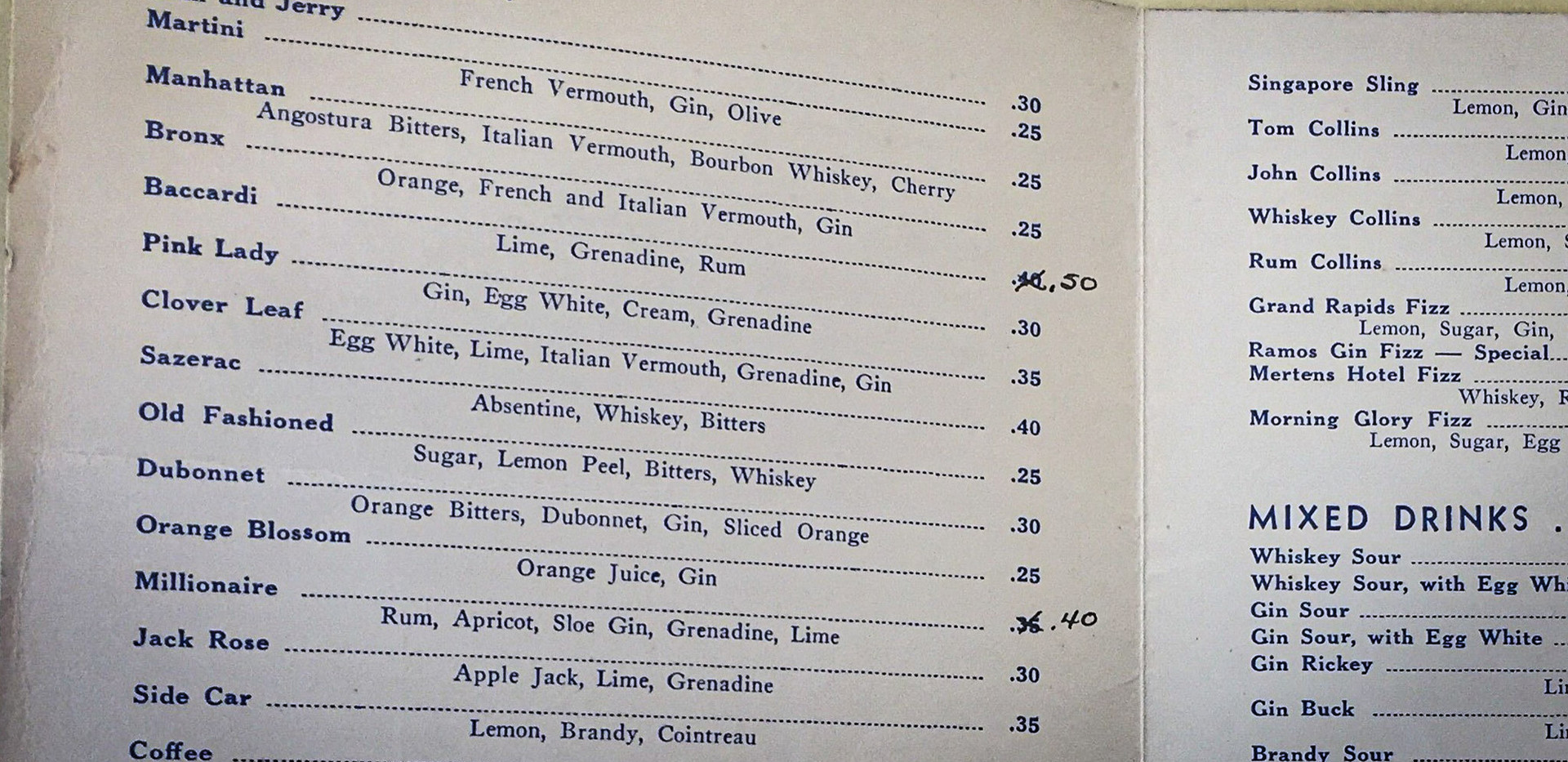 The original NHM Cocktail Menu