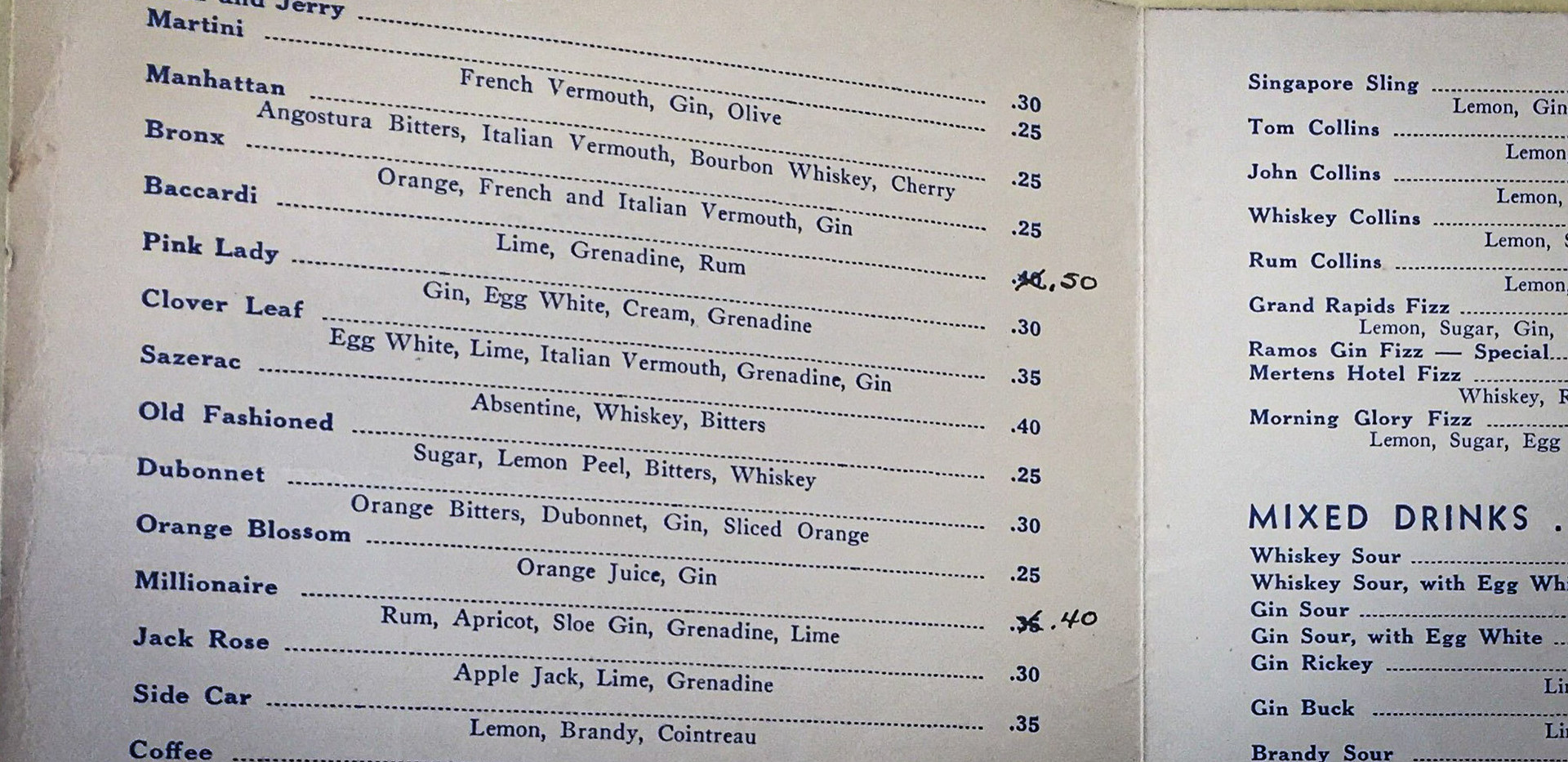 The cocktails at New Hotel Mertens, circa-1939