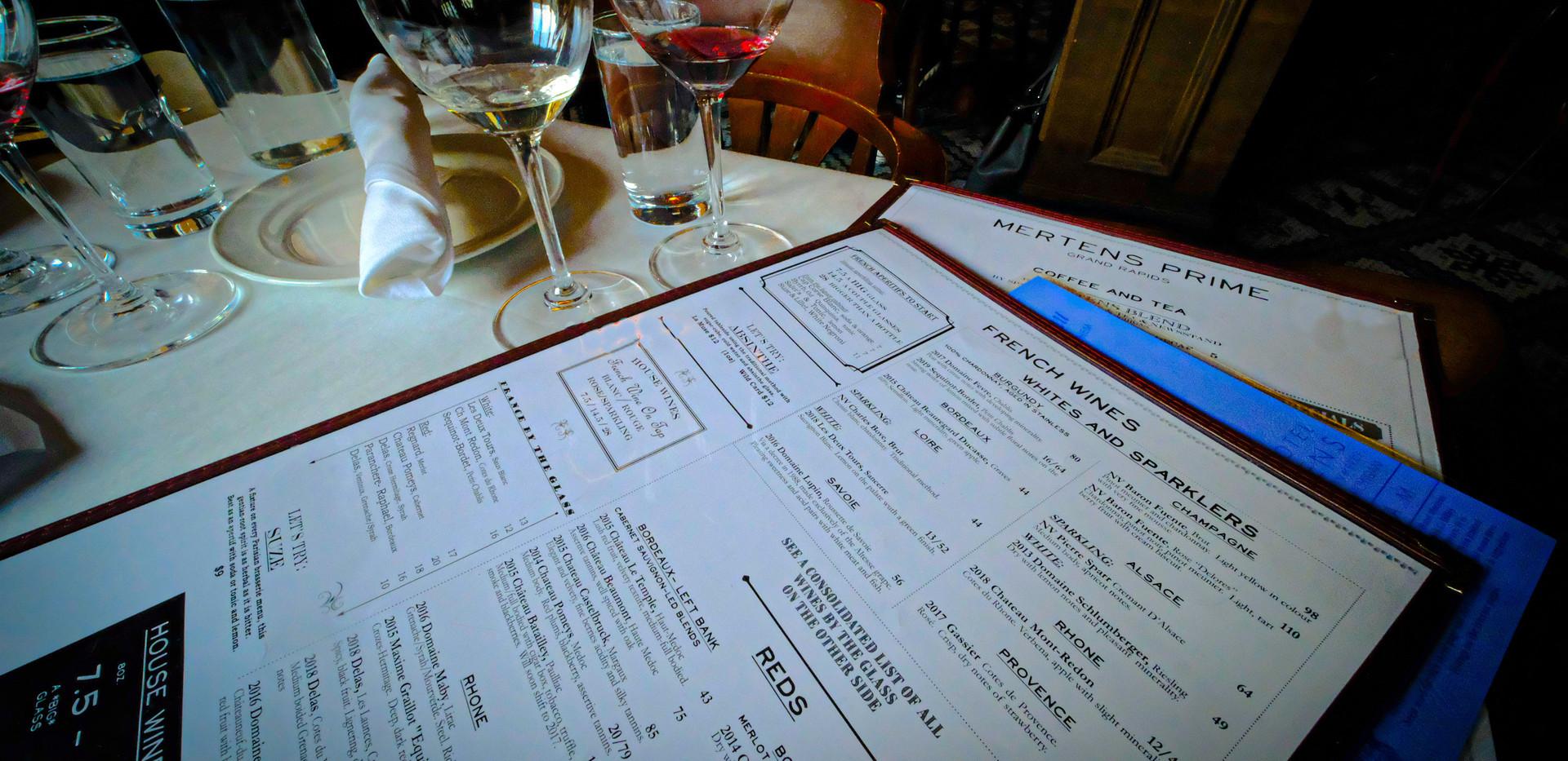 The wine menu at Mertens Prime