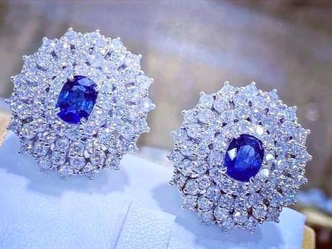 Blue Sapphire Dia Earrings