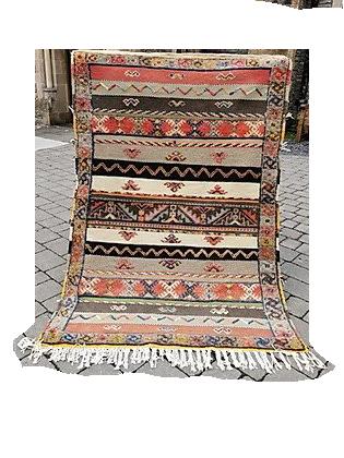 R13-6.8x3.7 ft. Handmade Moroccan Berber Rug. Camel wool.