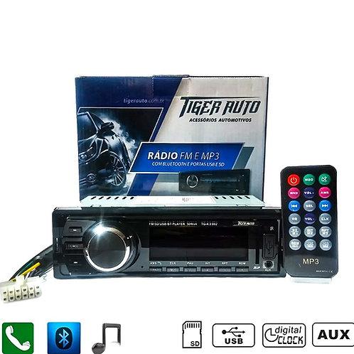 APARELHO 1 DIN BLUETOOH/RADIO/USB/SD/CONTROLE TIGER