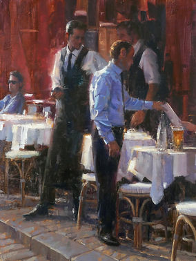 Douglas Gray Artist 'Manager's Recommendation' Figurative painting of waiters cafe scene in Montmartre Paris France