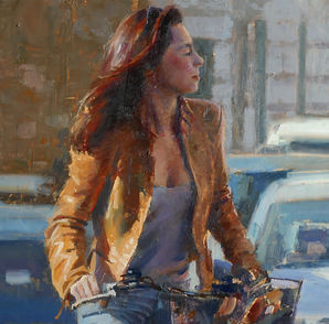 'Amber, Rome' (Detail) by Douglas Gray Figurative Artist.paintings oil paintings figurative artist  douglas gray artist figurative art cafe scenes  atmospheric paintings nuy paintings modern city paintings emotions edward hopper available to buy framed paintings original framed paintings contemporary artist contemporary art For Sale originals paintings for sale award winning artist uk artist douglas gray cafe pictures cafe paintings figurative pictures buy paintings coffee shop paintings paintings free delivery paintings free shipping