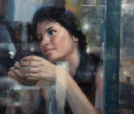 Reflection in Blue by Douglas Gray Figurative paintings Artist paintings oil paintings figurative artist  douglas gray artist figurative art cafe scenes  atmospheric paintings nuy paintings modern city paintings emotions edward hopper available to buy framed paintings original framed paintings contemporary artist contemporary art buy originals paintings for sale award winning artist uk artist douglas gray cafe pictures cafe paintings figurative pictures buy paintings coffee shop paintings paintings free delivery paintings free shipping