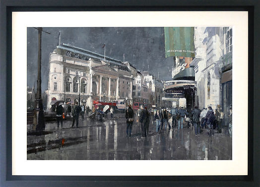 Sun and rain Piccadilly by Douglas Gray Artist Figurative Paintings Contemporary