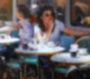 Douglas Gray Artist 'Ladies at Lunch' (detail) Cafe Scene Figurative Painting France