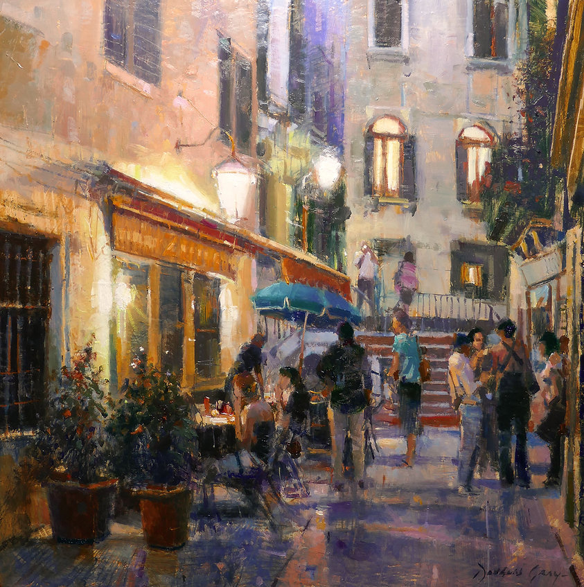 Summer Evening, Venice By Douglas Gray 12x12 Inches Oil On Panel