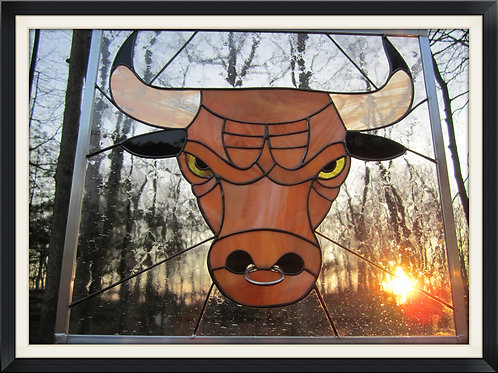 Stained Glass Bull with Steel Nose Ring