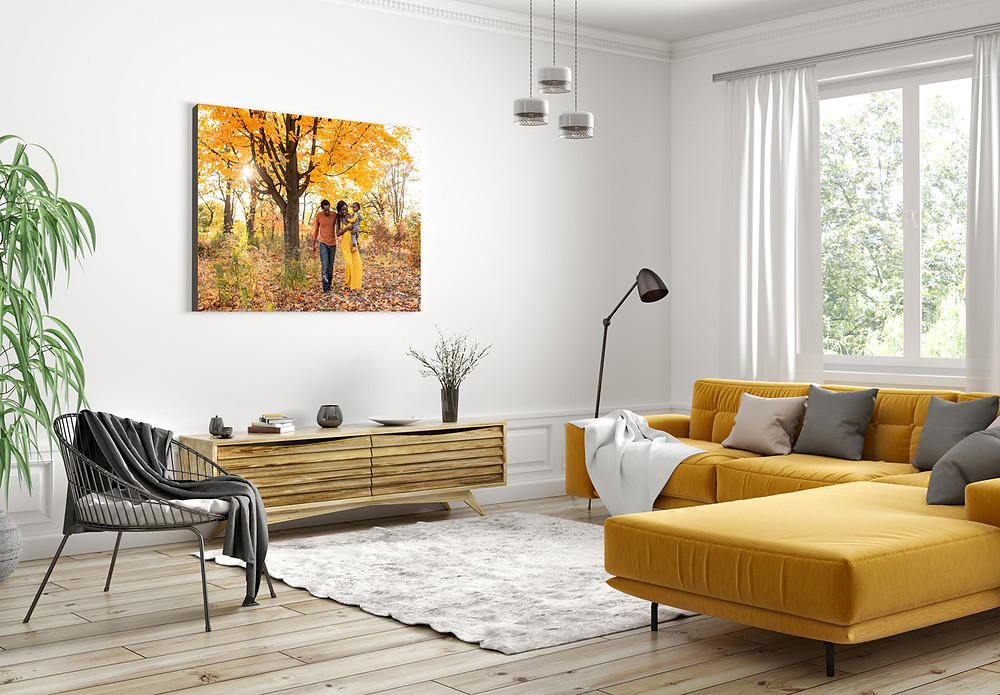 Large canvas on a wall in a living room showing a photo of a family walking in High Park, Toronto