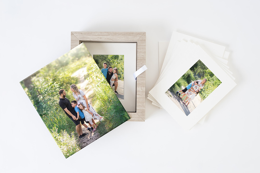 Folio photo box with matted prints showcasing family photography by Vongue Art