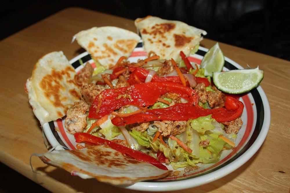 Taco salad and quesadilla