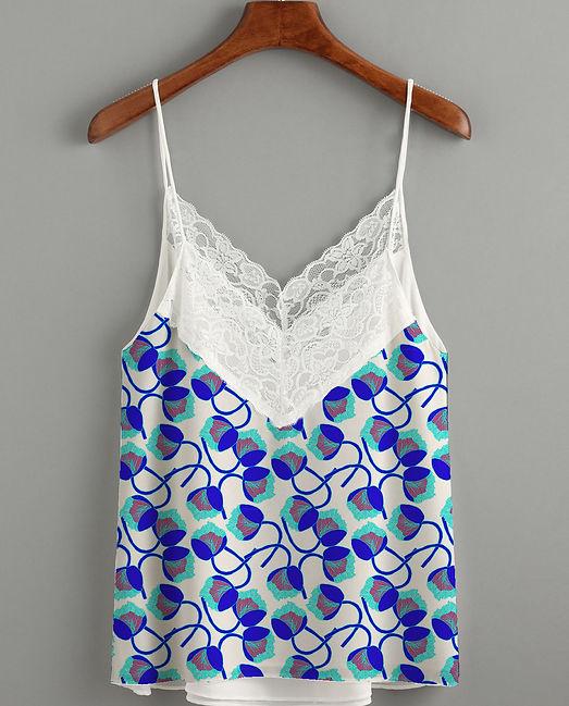 Lingerie caracot motif bleu persan