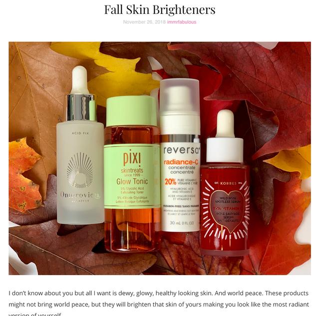 Fall Skin Brightening