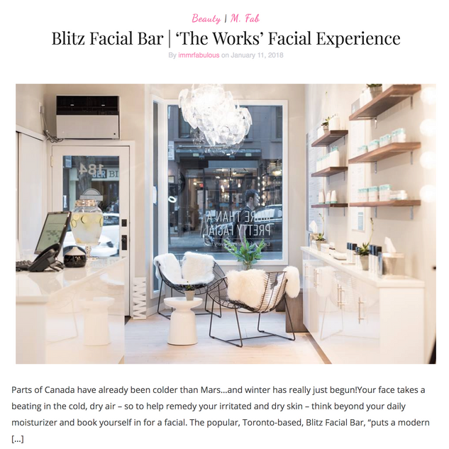 Blitz Facial Bar's 'The Works' Facial Experience