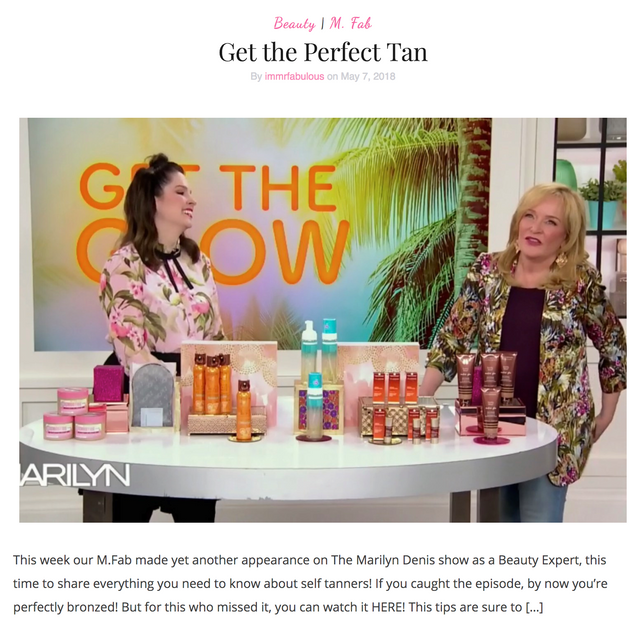 Tanning with Marilyn Denis