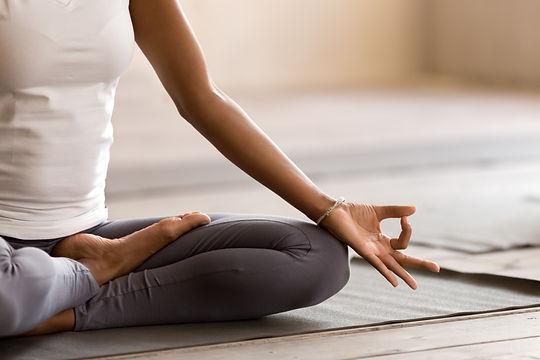 Yogi black woman practicing yoga lesson,