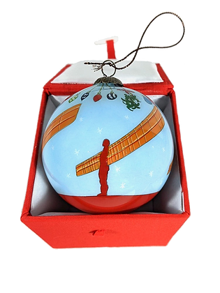 Angel of the North Hand Painted Glass Bauble