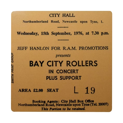 Bay City Rollers City Hall Ticket Coaster