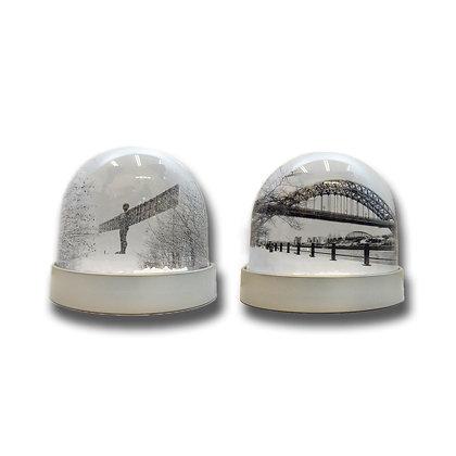 Tyne Bridge & Angel of the North Black & White Snow Globe