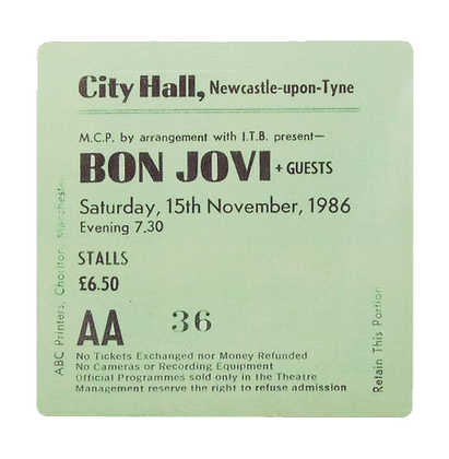 Bon Jovi City Hall Ticket Coaster
