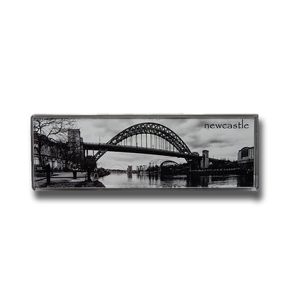 Tyne Bridge Black & White Panoramic Photo Magnet