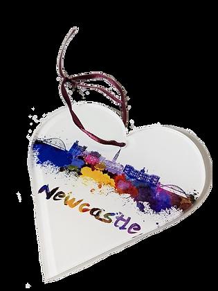 Newcastle Skyline Acrylic Heart Decoration