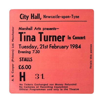 Tina Turner City Hall Ticket Coaster