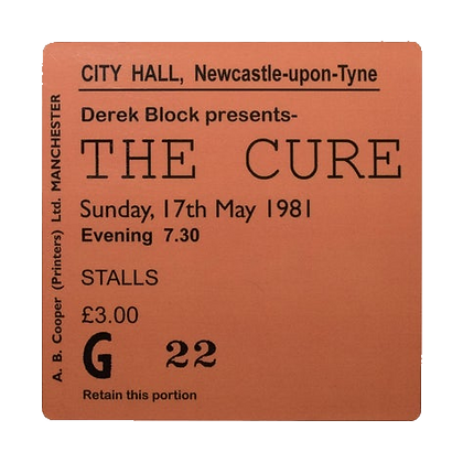The Cure City Hall Ticket Coaster